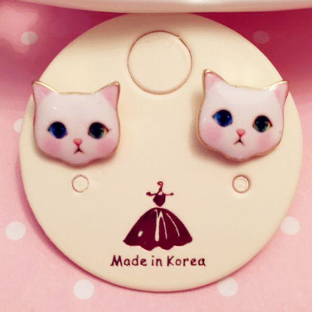 韓可愛小貓咪擬真耳環 耳針 質感佳