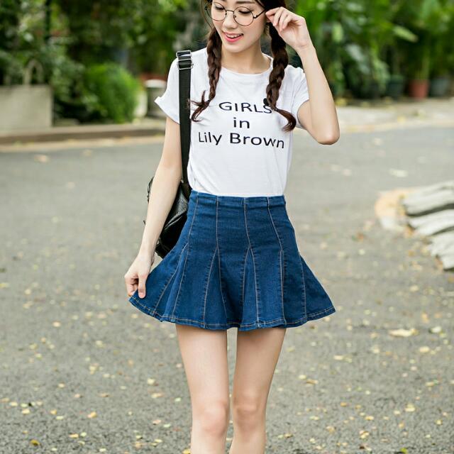 《預購》A#9025 百褶高腰牛仔半身裙