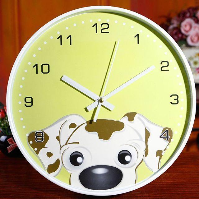 AA02-054G Green Dog Wall Clock / Jam Dinding Dalmatian Lucu