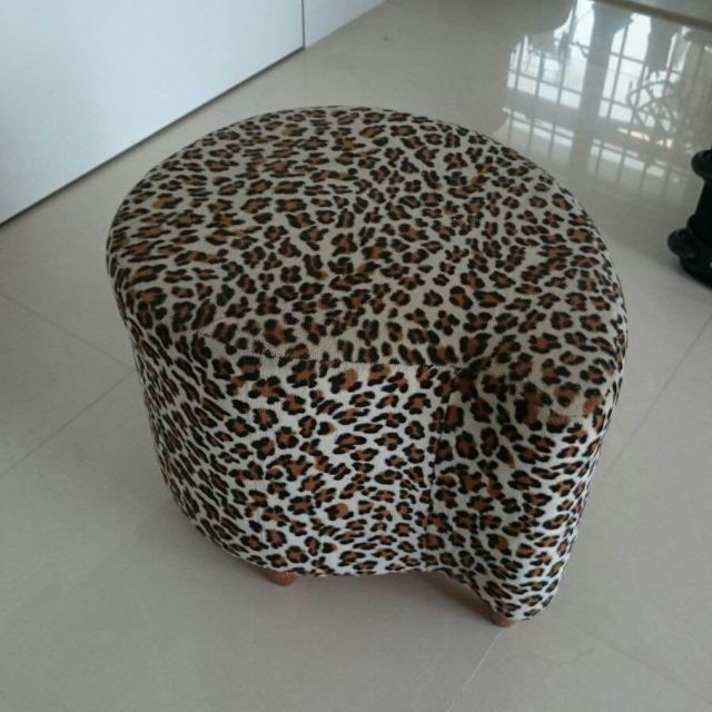 Beautiful Stool Chair / Ottoman in Faux Fur Leopard Print