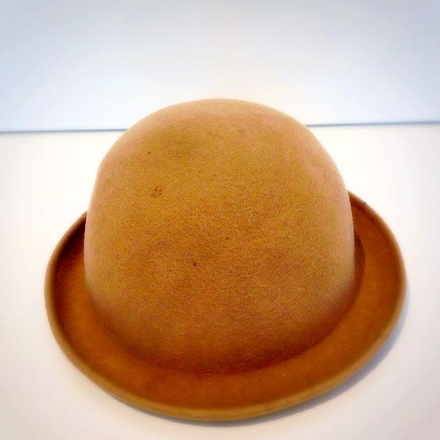 Beige Bowler Hat