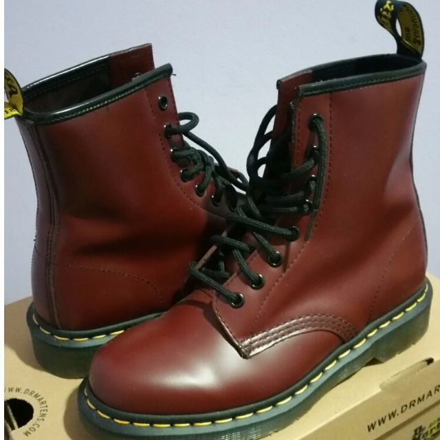 25229263393 Dr. Martens 1460 Originals Eight-Eye Lace-Up Boot. Cherry Red Rouge Smooth