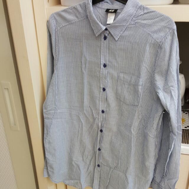 全新H&M條紋長版襯衫