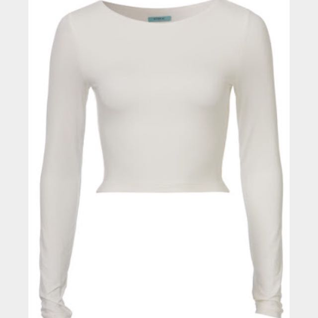 Kookai Cropped Long Sleeve Top - Size 1