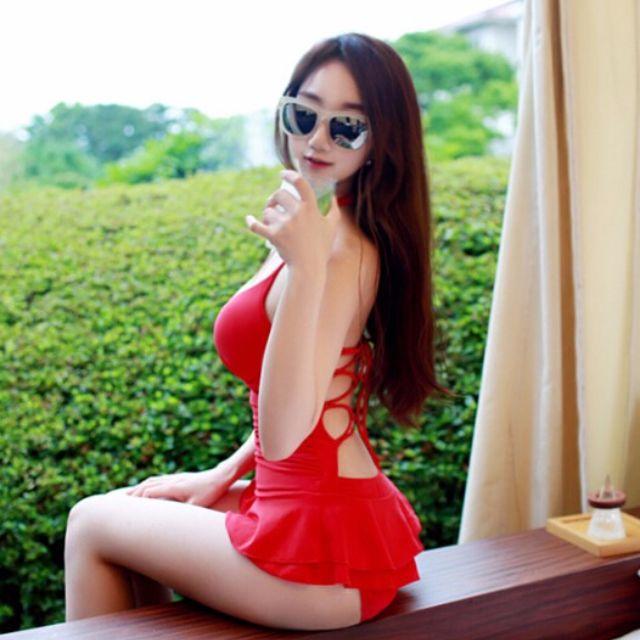 ❤LaLaNiCo❤夏~✿韓 性感紅色美背遮肚鋼圈連身式比基尼泳衣