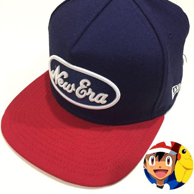 降  ~ NEW EAR x 刺繡 Logo 棒球帽  紅 藍 配 ( 正版 )