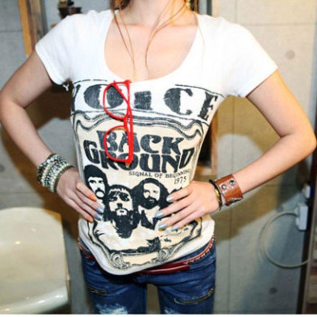 【OrangeShop】日系新款龐克風十字架印花T恤 龐克T恤 日系T恤 大學T 短袖上衣 短版上衣 短版T恤 Q8306 預購