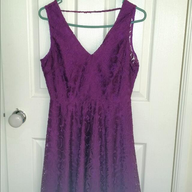 Printed Floral Purple Dress