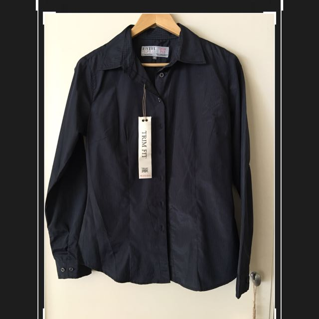 Rivers Trim Fit Work Shirt - Size 10 - Striped Black And Blue