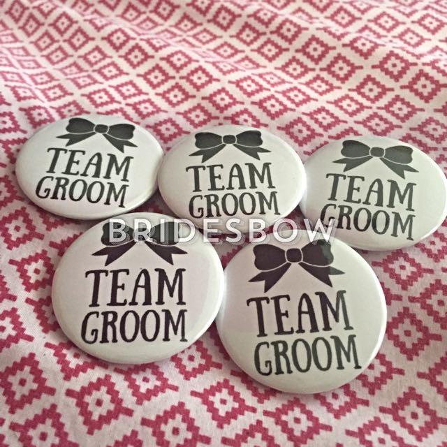 388fbca14fe56 Team Groom Wedding Customized Badges, Design & Craft on Carousell