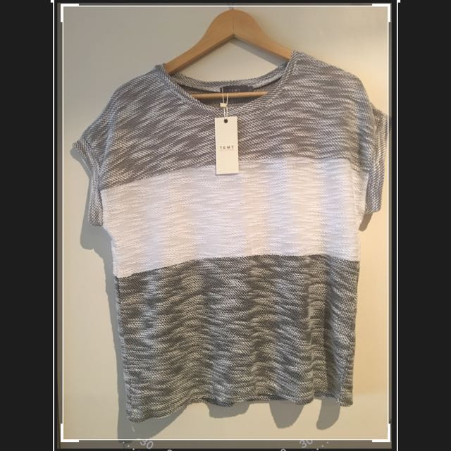 Temt Top - Black, White, Grey - Size Small