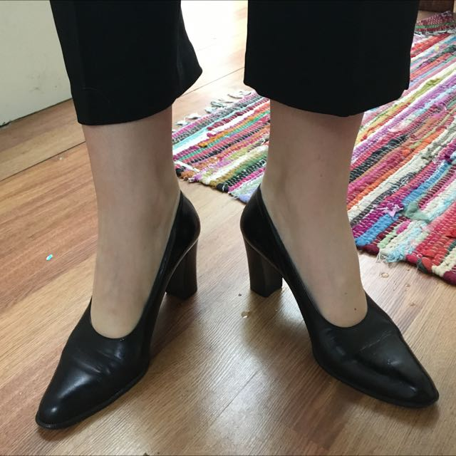 Vintage All Leather Black Pumps 39.5
