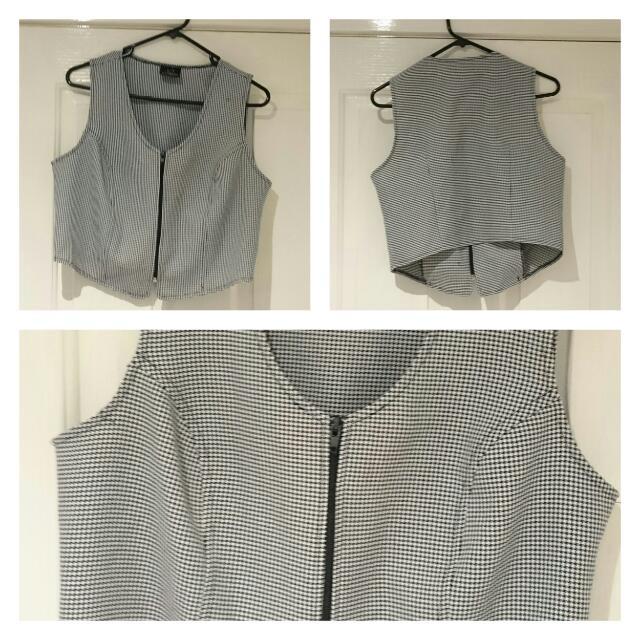 Zip Up Crop Vest