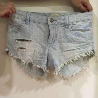 ROXY 點點刷白 熱褲 牛仔短褲