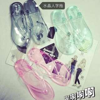 《預購》A#5091 新款透明水晶人字拖鞋