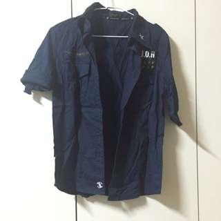 (降)MJR Major Made深藍色短袖襯衫外套 S號