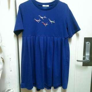 (古著) 趣味小圖案藍色洋裝