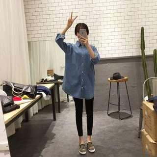 韓版牛仔中長襯衫