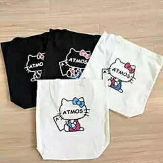 【isHe❦】Hello Kitty棉質購物袋 側背包 手提袋(黑色)