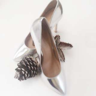 Atoms&Here Summer Pointy Silver Leather Heels Size 7