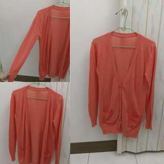 💥降💥珊瑚色 針織罩衫 外套