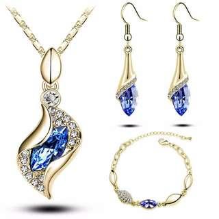 Crystal drop jewelry sets Necklace, Earrings & bracelet