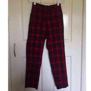 High Waisted Tartan Pants Size 8.