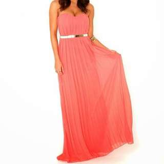 *REDUCED* SHEIKE Coral Pleated Maxi Dress