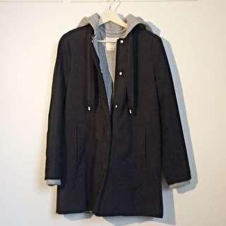 ZARA Long Double-layer Coat (Black)