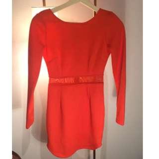 Red Hot Long Sleeve Dress