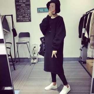 黑色/NO刺繡加絨燈籠袖連衣裙*1
