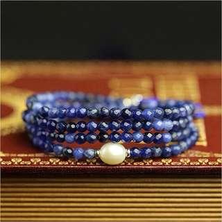 4mm天然藍紋石( 方鈉石 )多圈手串/玉鐲/水晶
