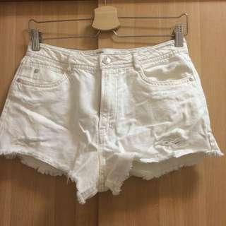 全新💫Zara牛仔短褲 白 28