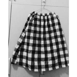 🎆含運🎆文青黑灰白格子長裙