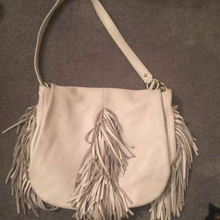 Authentic Oroton White Leather Fringe Handbag