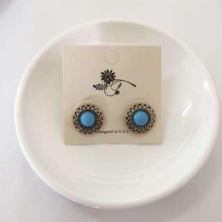 復古藍石簡約古典造型耳針