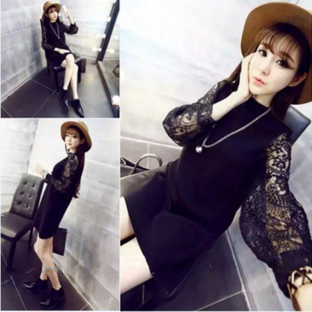 2016春季新款韓版性感修身顯瘦長袖蕾絲拼接洋裝