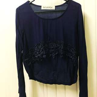 Long sleeves crop shirt