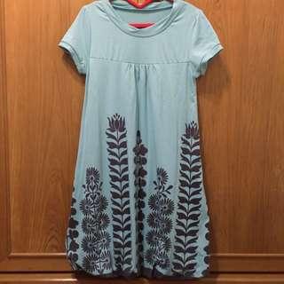 藍綠色圖騰小洋裝