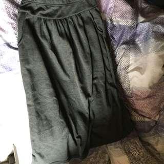 棉質灰色長裙
