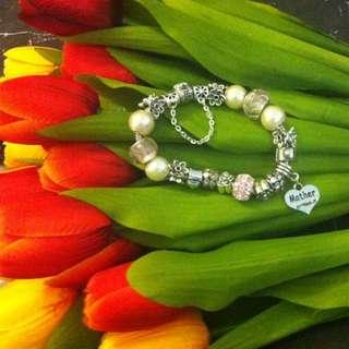 Charm Bracelet With Swarovski Charm 4 Available