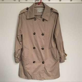 杏色米色冬天薄大衣風衣夾克長版外套 質感超好