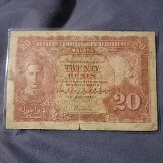 Malaya 1941 20 Cents Note