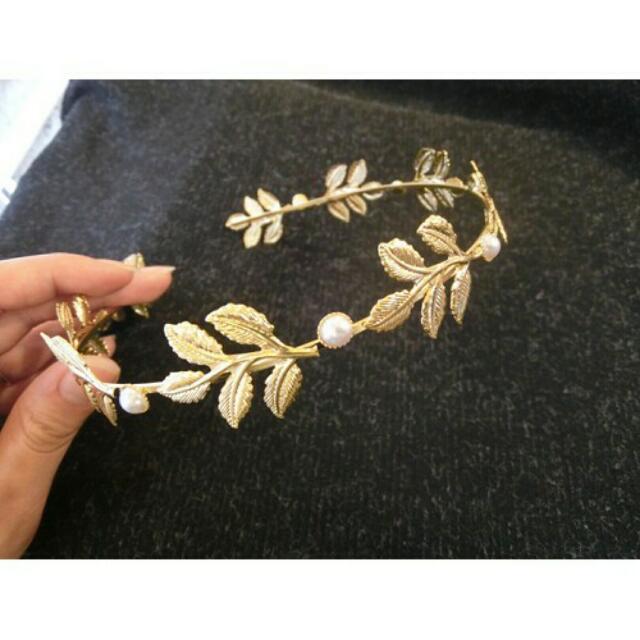 現貨*珍珠葉子華麗髮箍