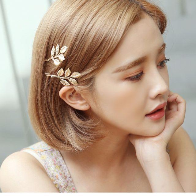 韓國金屬枝葉一字夾髮飾