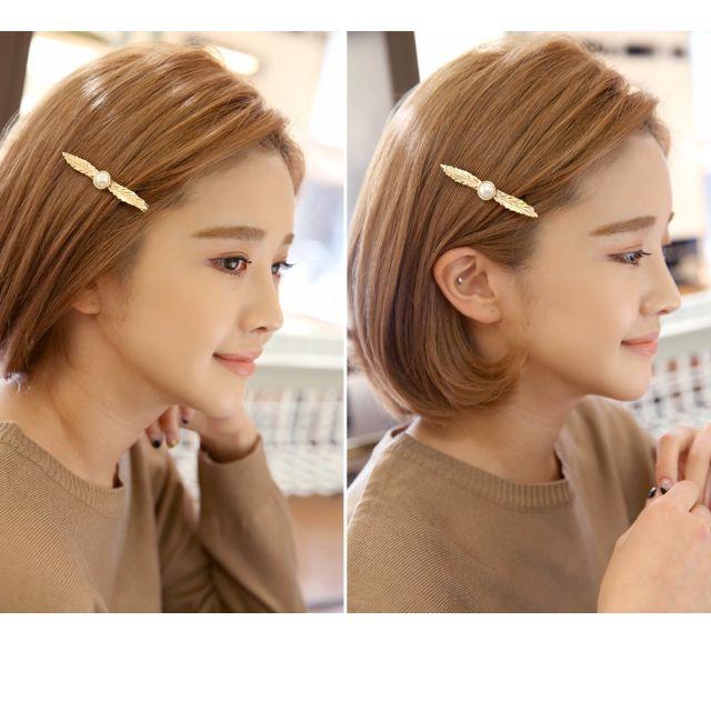 韓國葉子單珍珠壓夾髮飾