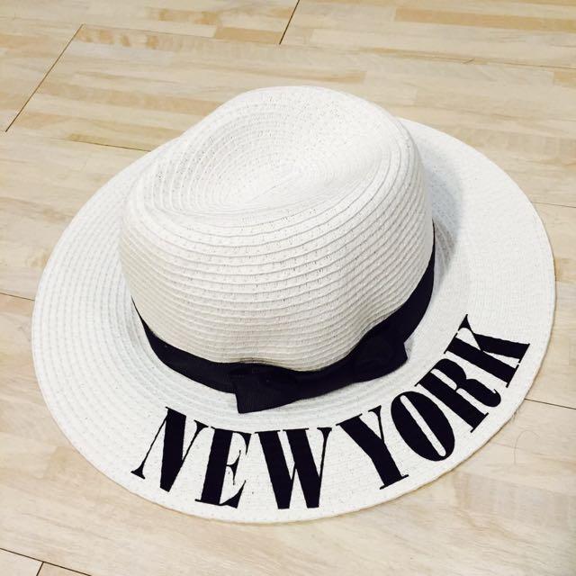 全新 清新 純白 夏日 度假 草帽
