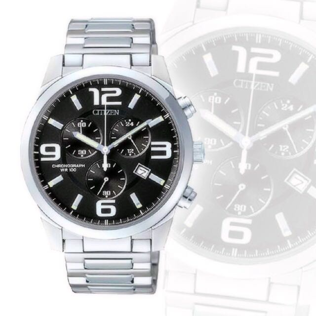 CITIZEN 手錶 征服者 三眼計時 碼錶(黑)