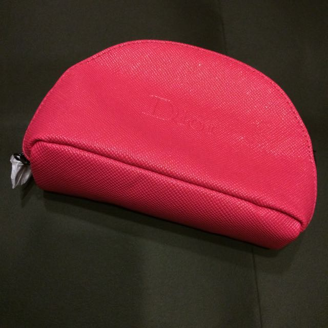 Dior桃粉壓紋化妝包