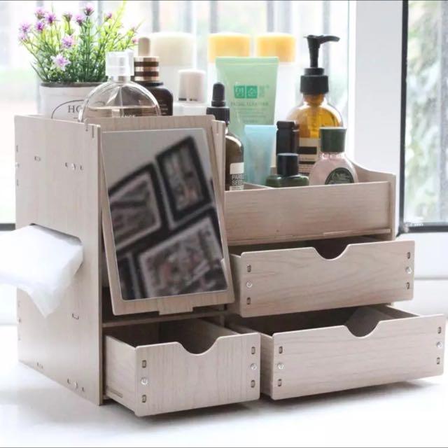 [現貨供應]限時特價!韓版DIY木製桌上型化妝品收納盒